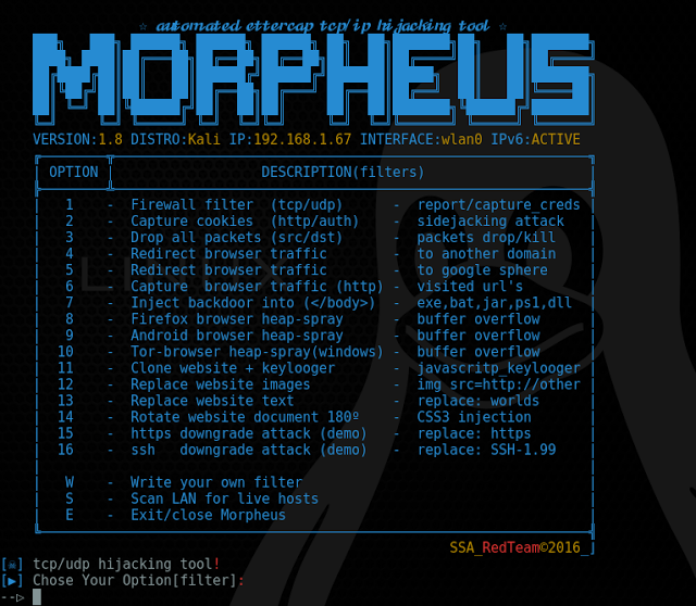 Morpheus – Automated Ettercap TCP/IP Hijacking Tool