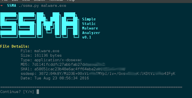 SSMA – Simple Static Malware Analyzer