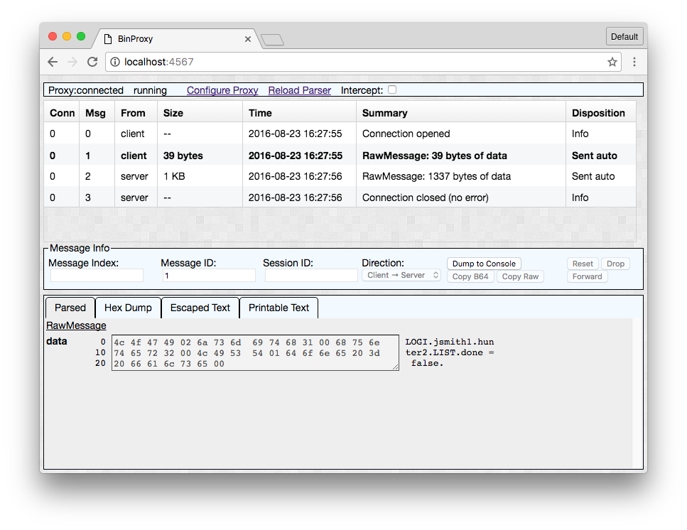 BinProxy –  a Tool for understanding and manipulating binary network traffic