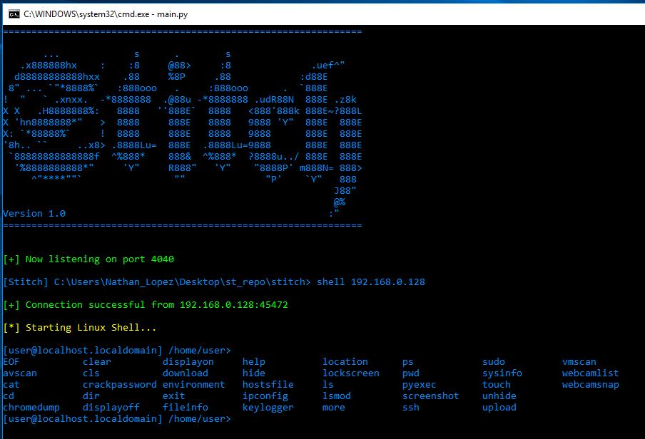 Stitch – A Cross Platform Python Remote Administration Tool