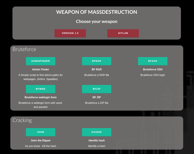 WMD (Weapon of Mass Destruction) – Python framework for IT security tools