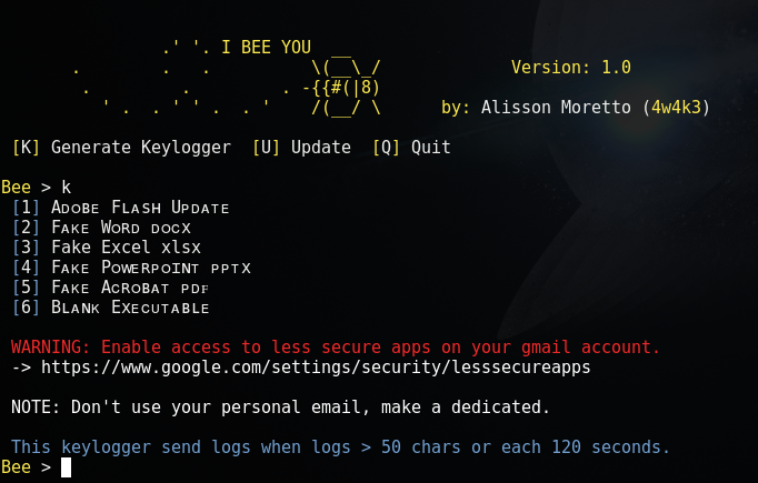 BeeLogger – Generate Email Keyloggers