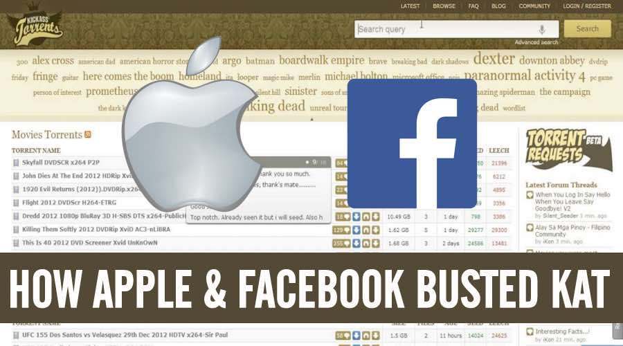 Apple and Facebook Behind The Shutting Down of KickassTorrents