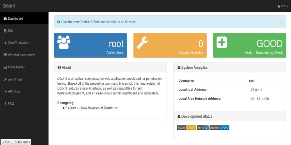 D0xk1t – Web-based OSINT and Active Reconnaissance Suite