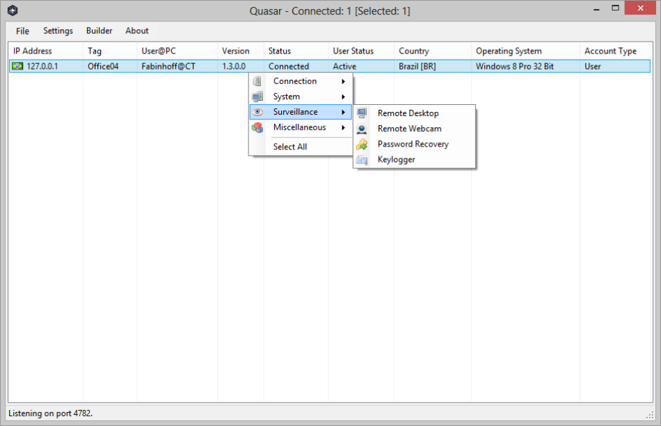 QuasarRAT – Open-Source Remote Administration Tool for Windows