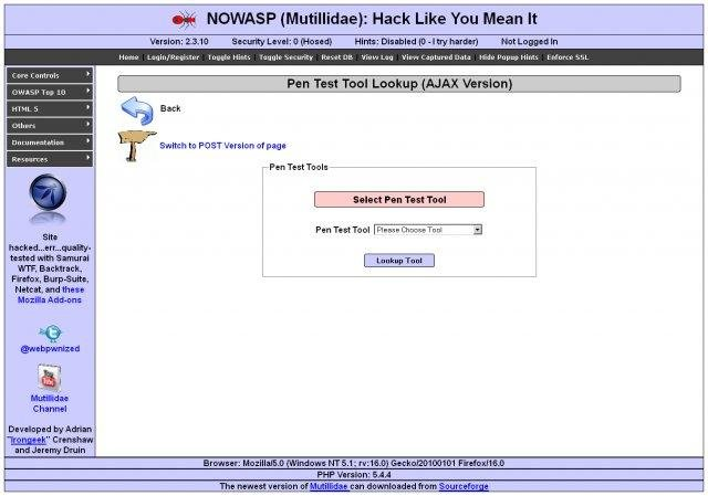 NOWASP Mutillidae II Web Pentest Practice Application v2.6.30