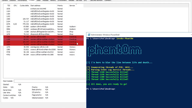Invoke-Phant0m – Windows Event Log Killer