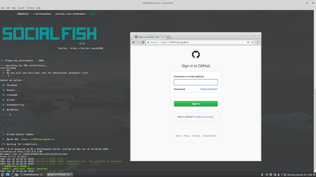SocialFish – Phishing Tool with Ngrok integrated