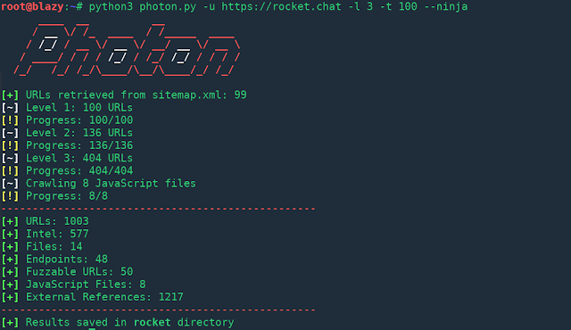 Photon – Incredibly Fast Crawler Which Extracts Urls, Emails, Files, Website Accounts And Much More