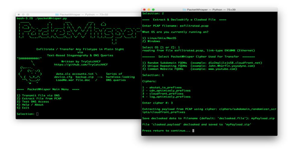 PacketWhisper Exfiltration Toolset