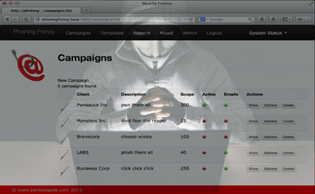 Phishing Frenzy – Ruby on Rails Phishing Framework