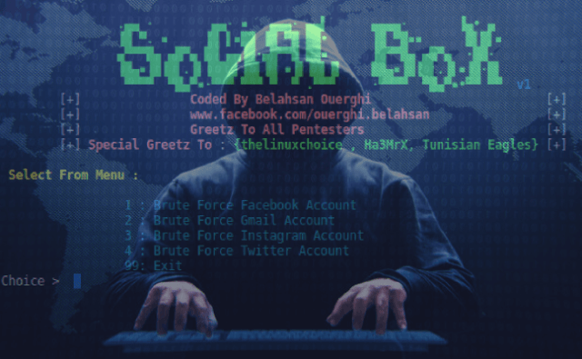 SocialBox – A Bruteforce Attack Framework[ Facebook , Gmail , Instagram ,Twitter]