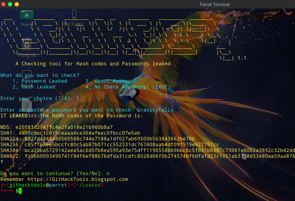 Leaked? 1.1 – A Checking tool for Hash codes and Passwords leaked