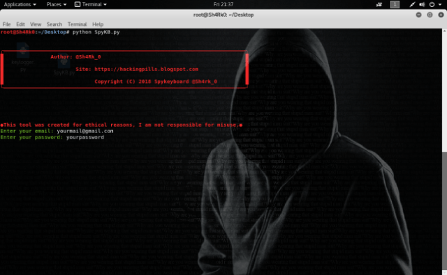 Spykeyboard – Keylogger Which Sends Data to Gmail