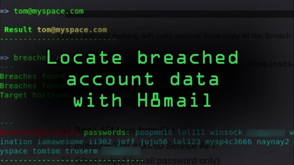 H8Mail – Email OSINT and password breach hunting.