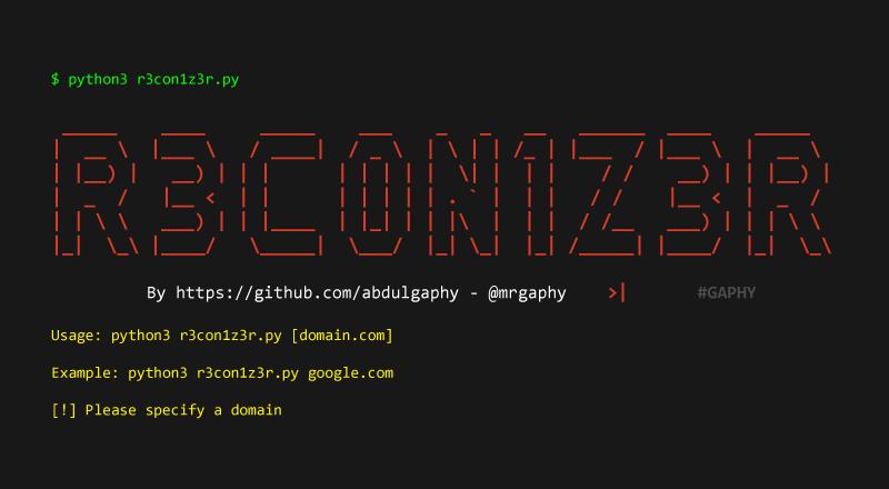 R3con1z3r – Lightweight Web Information Gathering Tool