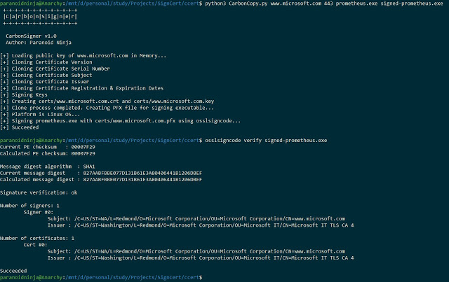 CarbonCopy – A Tool Which Creates A Spoofed Certificate Of Any Online Website