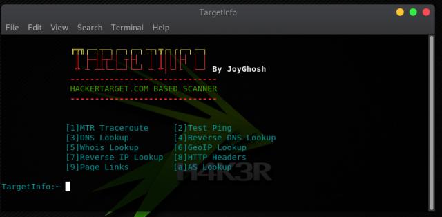 TargetInfo – Website Information Gathering and IP Scanning Tool