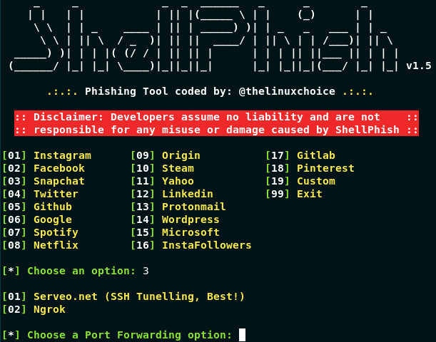 Shellphish – Phishing Tool For 18 Social Media Apps