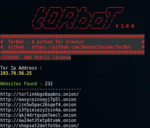 TorBot – OSINT tool for Deep and Dark Web
