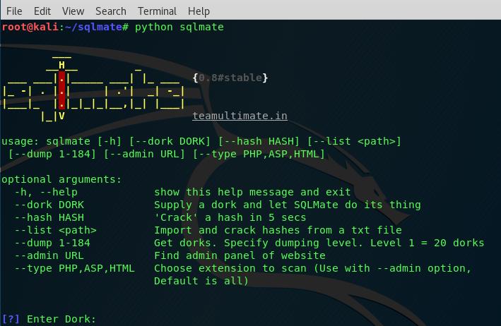 SQLMate – Automated SQLi Using Dorks