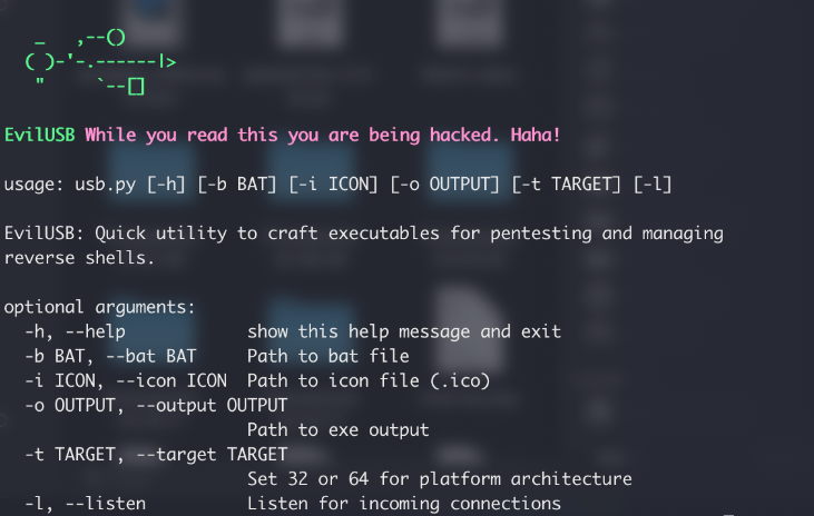 EvilUSB – Quick Utility to Craft Executables for Pentesting & Managing Reverse Shells