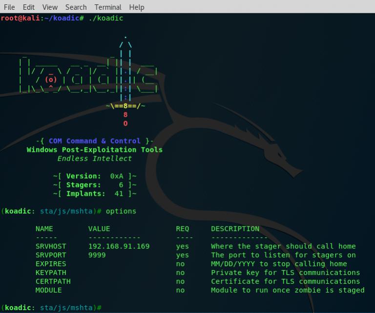 Koadic – C3 COM Command & Control – JScript RAT