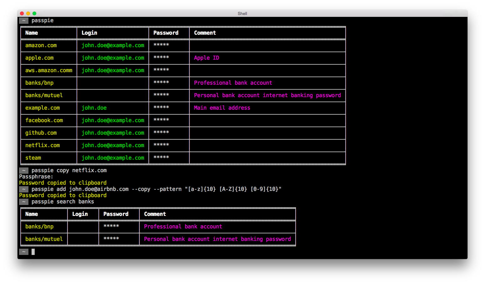 PassPie – Multiplatform Command-Line Password Manager