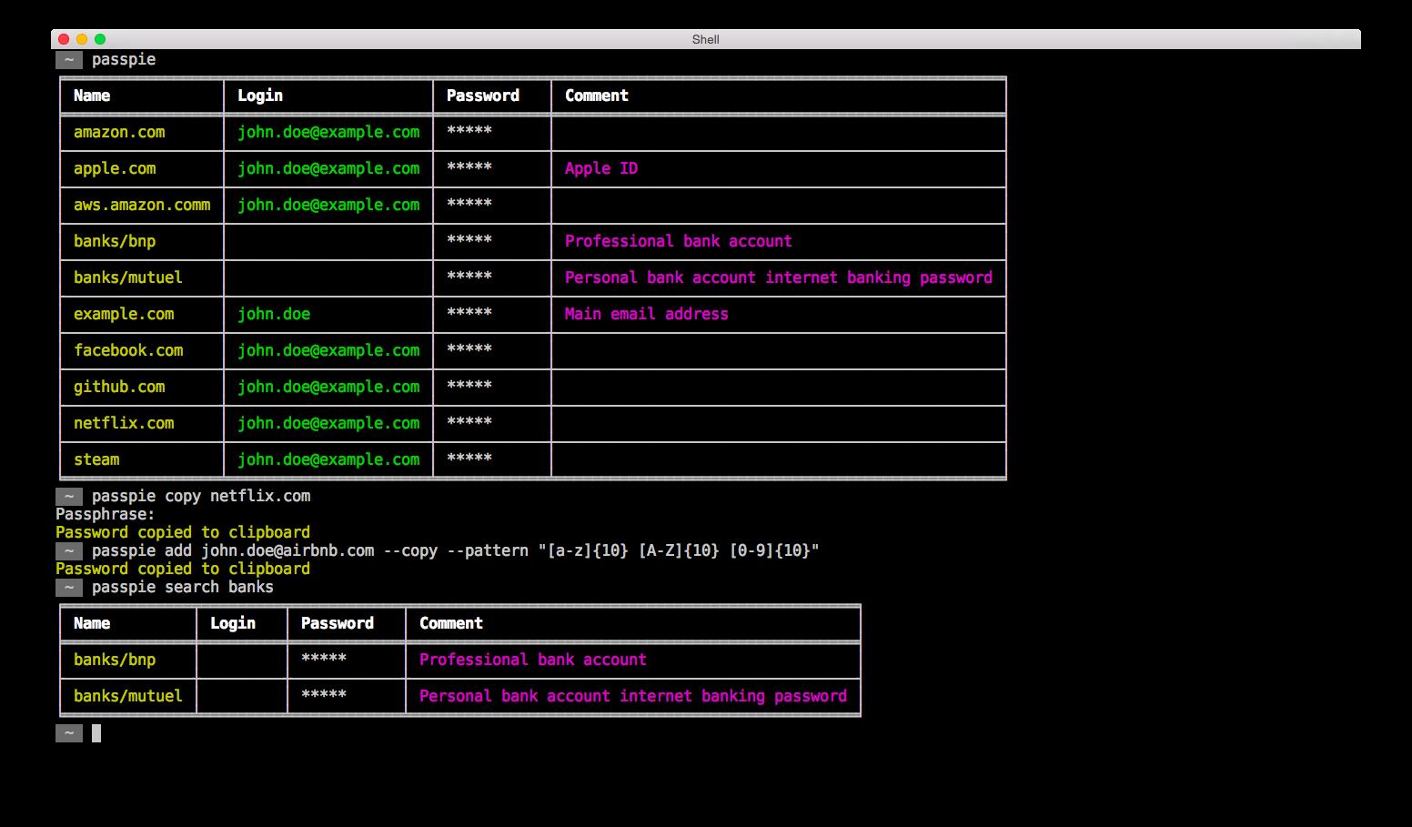PassPie – Multiplatform Command-Line Password Manager