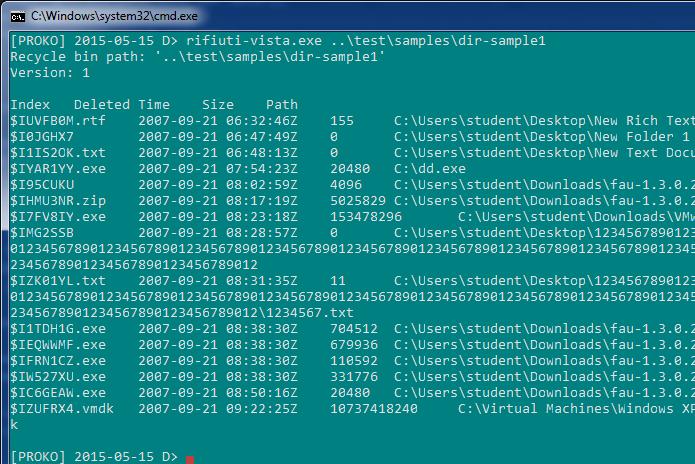 Rifiuti2 – Windows Recycle Bin analyser