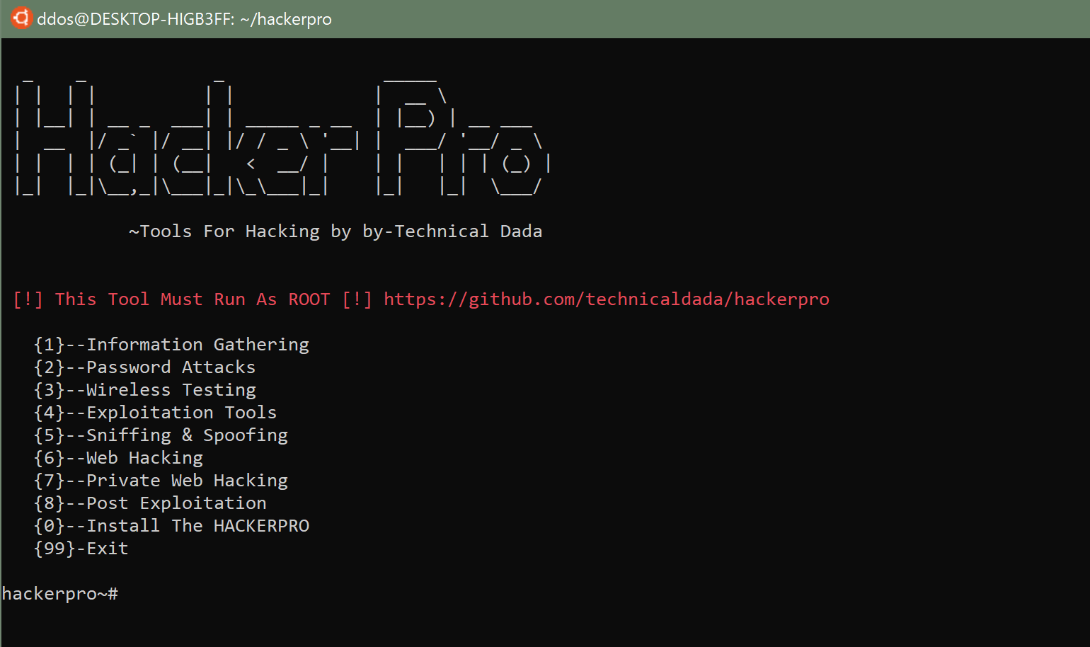 HackerPro: All in One Hacking Tool for Linux & Android