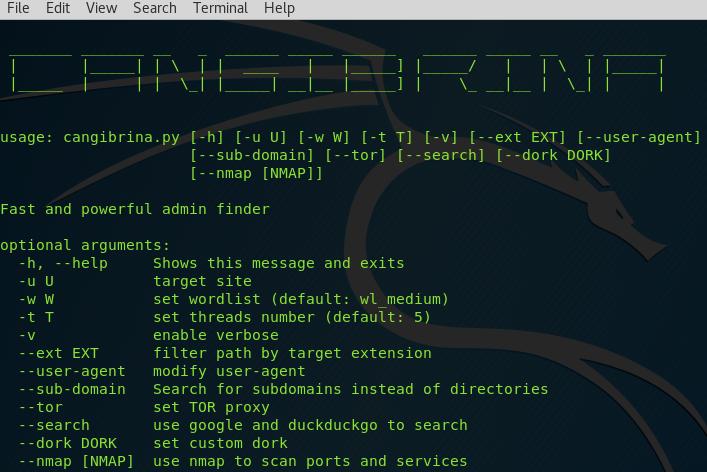 Cangibrina – A Fast and Powerful Dashboard (admin) Finder