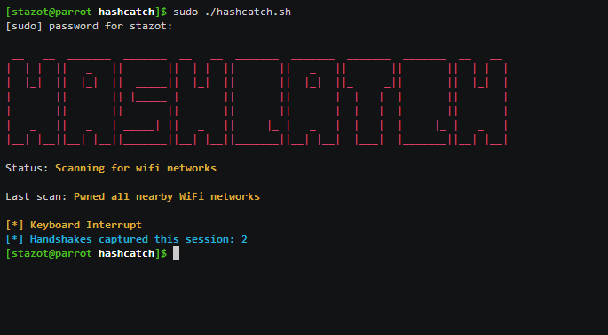 HashCatch – Capture Handshakes of nearby WiFi networks automatically