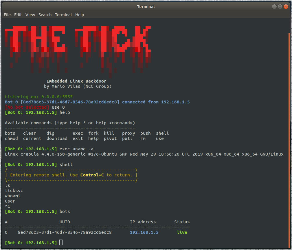TheTick – A simple embedded Linux backdoor