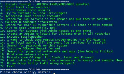 WinPwn - Automation For Internal Windows Penetrationtest / AD-Security