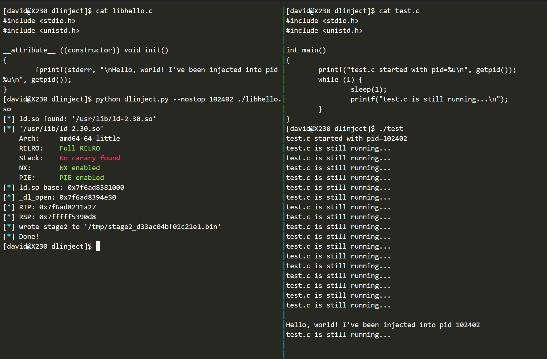 dlinject: Inject a shared library into a live linux process without ptrace