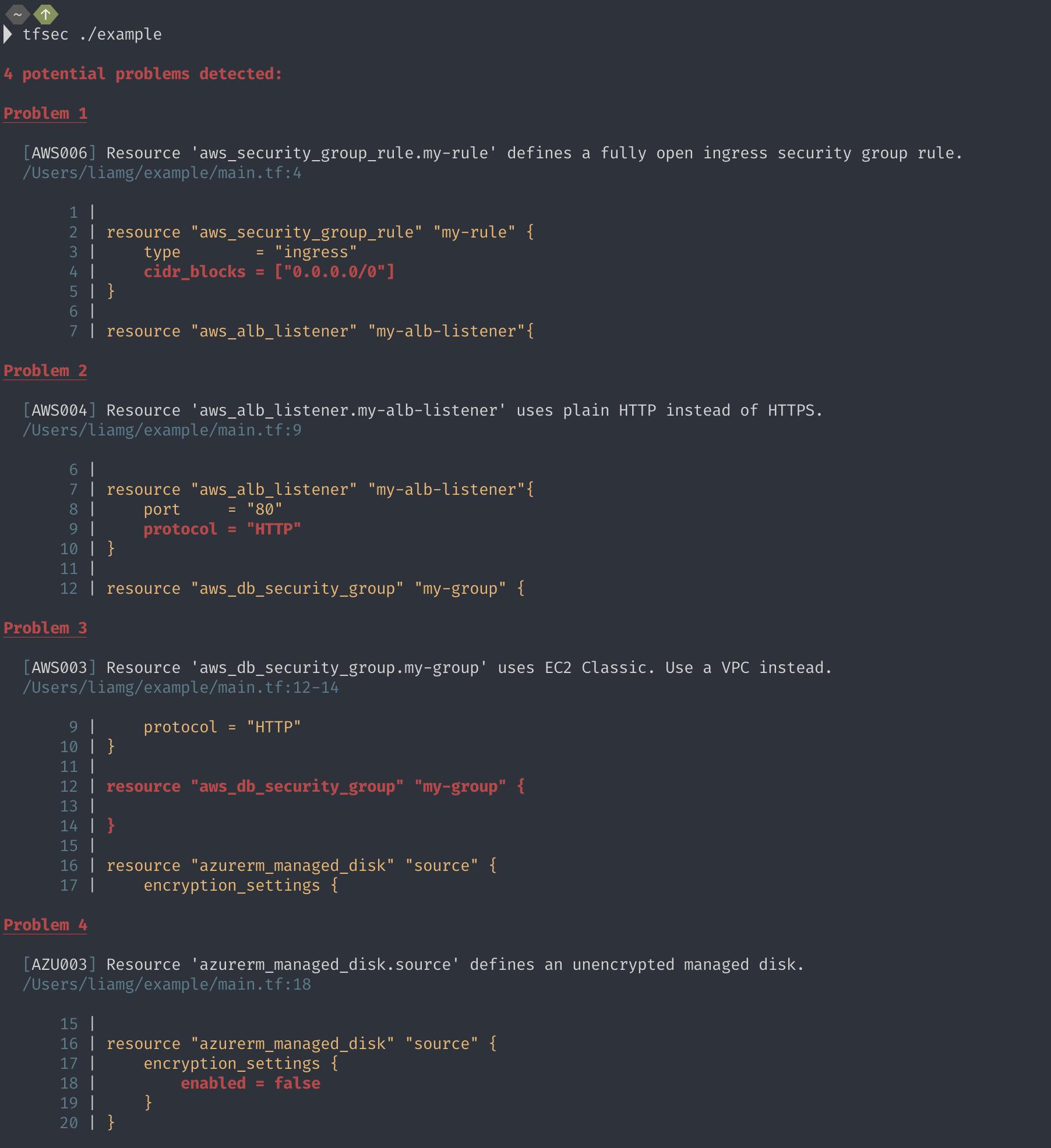 scan terraform code