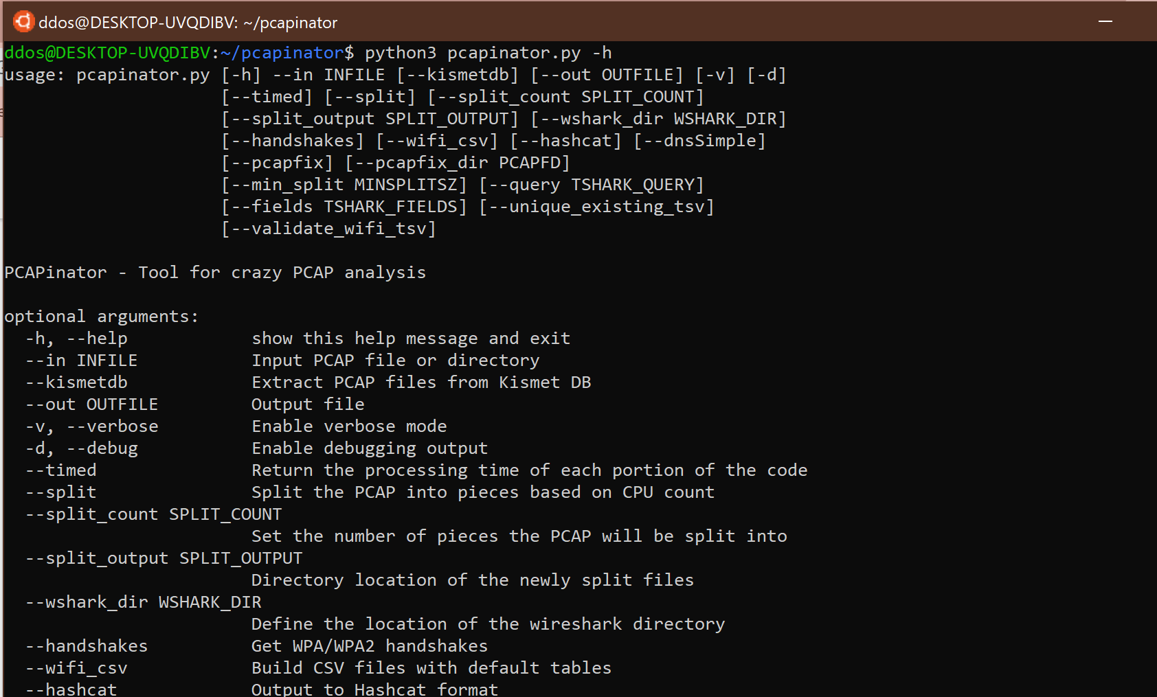 pcapinator: tool for processing a lot of pcaps using tshark