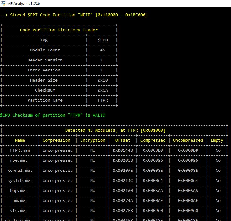 ME Analyzer v1.104.0 r186 releases: Intel Engine Firmware Analysis Tool