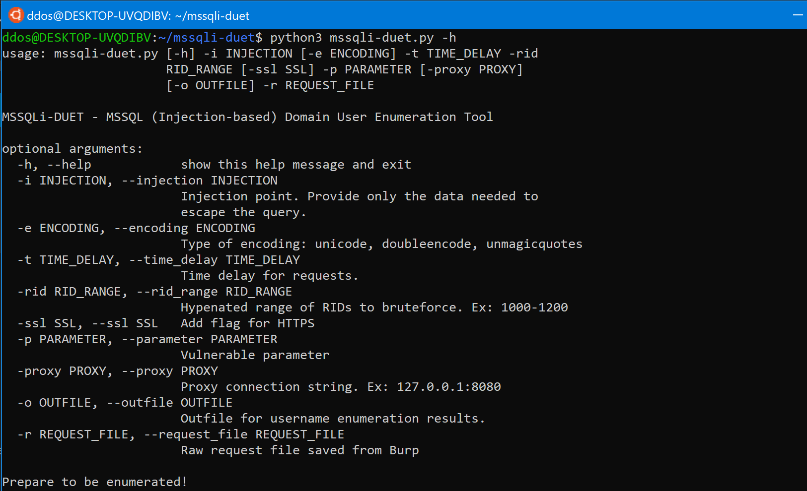 mssqli-duet: SQL injection script for MSSQL