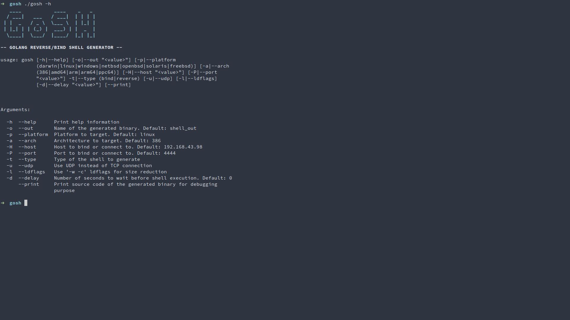 GoSH: Golang reverse/bind shell generator