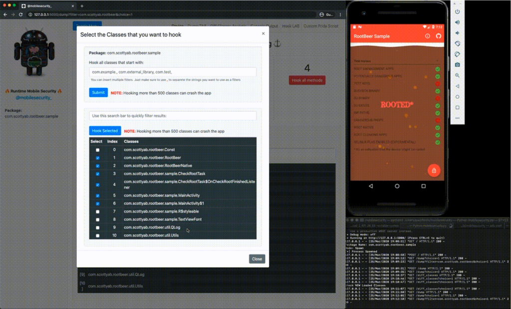 Runtime Mobile Security: manipulate Android Java Classes and Methods at Runtime