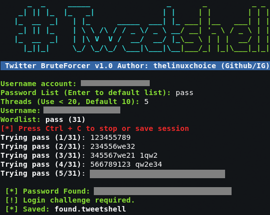 Tweetshell – Multi-thread Twitter BruteForcer In Shell Script