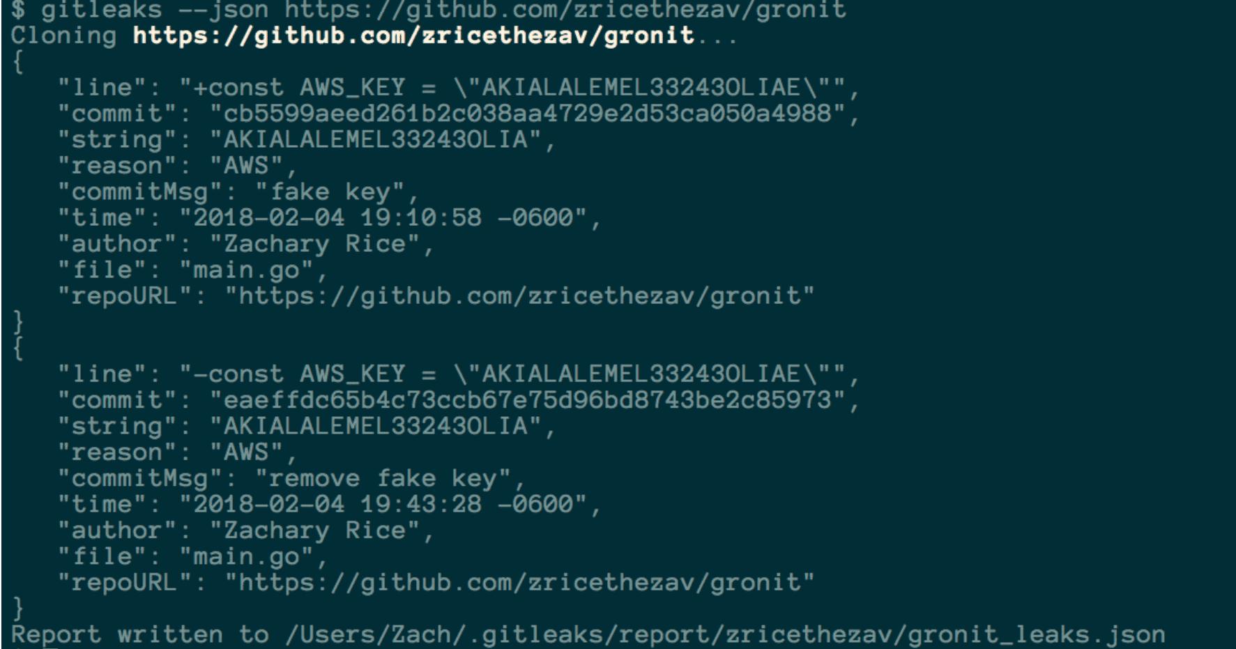 gitleaks v4.1.1 releases: Searches full repo history for secrets and keys